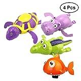 TOYMYTOY Badetiere Badewannenspielzeug Aufziehspielzeug Badeschildkröte für Baby Kleinkinder 4 Stücke