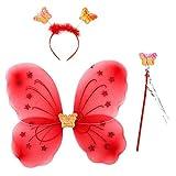 TOOGOO princesa de hadas mariposa alas varita diadema 3 unids grupo Halloween fiesta papel traje rojo