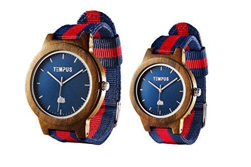 Tempus–Willoughby–His und Hers Uhren Paar Passende Holz Armbanduhr minimalistischen Paar Holz Armbanduhr gestreift Nylon Band–tww06 (Bambus-leder Tasche)
