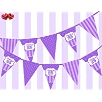 Party Decor Posh Purple Violet Lilac Lavender Happy 25th Birthday Ornament on Polka Dot and Vintage Purple and Lilac Pattern Themed Bunting Banner 12 flags 5Ft for guaranteed simply stylish party