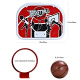 Pellor Indoor and Outdoor Wall Mounted Basketball Backboard Hoop Hanging Basketball Shoot Board For Children Kids Play Game (Red/White, board width: 38 cm / 15in)