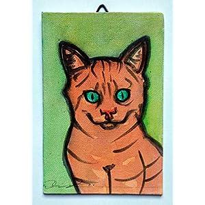 Katze-Malerei auf Leinwand handgefertigt Karton, cm10x15cm Größe,fertig zum Aufkleben auf die Wand. Hergestellt in Italien, Toskana Lucca. Erstellt von Davide Pacini.