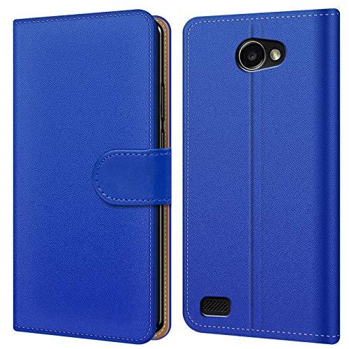 Conie BW14812 Basic Wallet Kompatibel mit LG Bello 2, Booklet PU Leder Hülle Tasche mit Kartenfächer und Aufstellfunktion für Bello 2 Case Blau