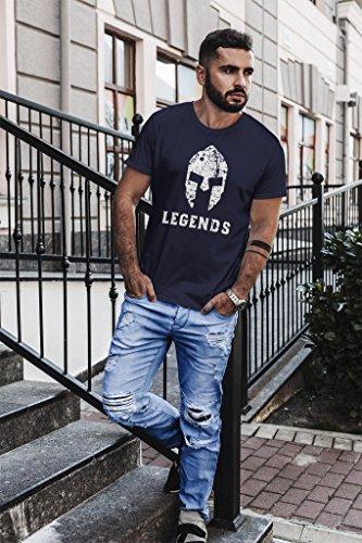Neverless Herren T-Shirt Legends Sparta Spartaner Helm Slim Fit Navy
