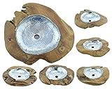 Teakholz Waschbecken Teak Waschschale Aufsatzwaschbecken Massiv Holz Alu 50cm