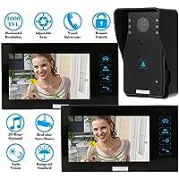 """KKmoon 7"""" Interfono Timbre Intercomunicador (1000TVL Cámara de Vigilancia, 2 Monitor TFT LCD, Botón Táctil, Control Remoto, 6 IR LED Visión Nocturna)"""