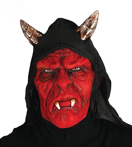Teufelsmaske mit Kapuze und Hörnern Teufel Latex-Maske Dämon Halloween (Masken Teufel Halloween)
