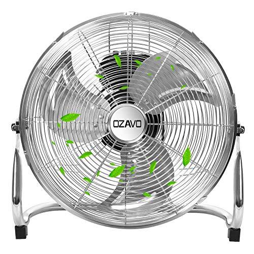 OZAVO Ventilateur de Sol ont 3 Niveaux de Vitesse, Puissance de 100 W, Tête du ventilateur Inclinable à 100°, Diamètre du Ventilateur est 56cm