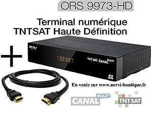 Récepteur TNT satellite TNTSAT HD ORS 9973-HD avec cordon HDMI (carte TNTSAT incluse, valable 4 ans)
