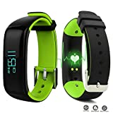 Reloj Resistente Pulsera Actividad Bluetooth Podómetro Deporte Monitor Ritmo Cardíaco Contador de Presion Arterial / Sueño / Calorías Alarma y Notifica para Teléfono Android ios con móvil (Verde)
