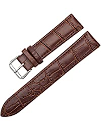 Sanwood Unisex Faux Leather Watch Strap Buckle Band Brown 22mm