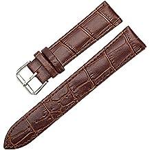 Sanwood Montre Unisexe en cuir synthétique Sangle Boucle bande marron 20mm