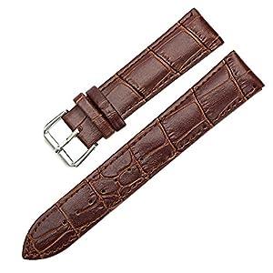 Sanwood Unisex-Uhrenarmband mit Schnalle, Kunstleder, 18 mm, Braun