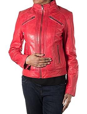 Las nuevas mujeres rojo suave del motorista del cuero de la chaqueta. Peque–o collar. Vertical dise–o acanalado...