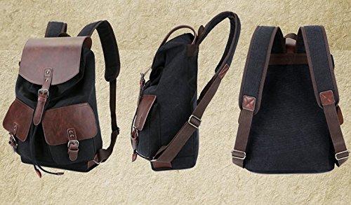 lininghigh Qualität Vintage Fashion Casual Leinwand Mikrofaser Leder Frauen Herren Rucksack Rucksäcke Schultertasche Taschen für Lady Rucksack schwarz