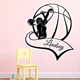 Baloncesto pared adhesivos personalizado personalizado nombre niña vinilo jugador de baloncesto de vinilo Sport Home Interior Art Kids Bedroom Decor