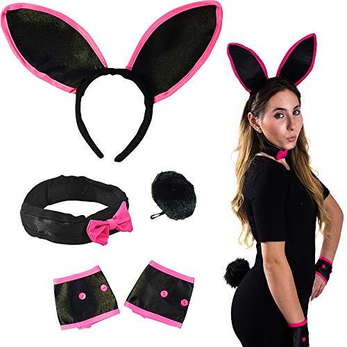 Lustige Partyhüte, Halloween-Kostüm für Damen, 4 Stück, Schwarze Hasenohren, Kragen, Manschetten und Schwanz - Hasenkostüm - - Schwarze Hasenohren Kostüm