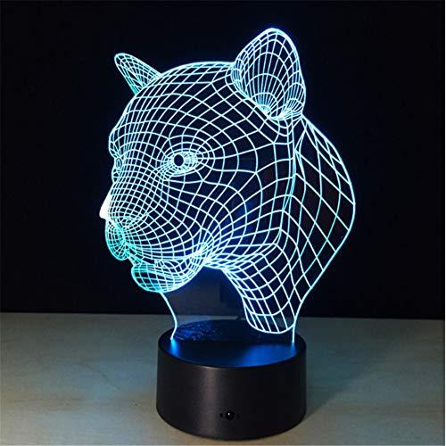 Tier Leopard Kopf 3D Visuelle Led Lampe 7 Farben Ändern Touch Sensor Usb Led Nachtlicht Kind Kinder Spielzeug Kreative Geburtstagsgeschenk - Neu In Leopard
