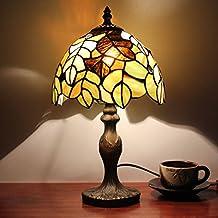 8 pulgadas pastoral hojas patrón Tiffany estilo hecho a mano lámpara de mesa de vidrio Bedside Bed sala de luz de los niños