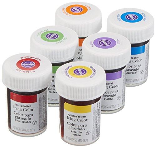 bakeryteam Wilton Gelfarben Set Regenbogenmix Spezial (6 x 28g) (Lebensmittelfarbe Set)