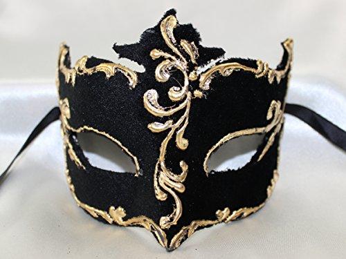 Damen schwarzen Gold Samt Colombina Half Face venezianische Masquerade Maske mit exquisiter Gold Trim