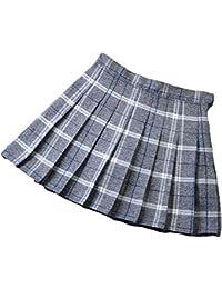 ZhuiKunA Mujeres Falda Escocesa Plisada con Cintura Elástica Escuela Uniforme Falda Cuadros Acampanada