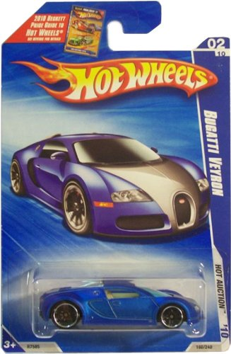 Hot Wheels 2010-160 Blue Bugatti Veyron Hot Auction 1:64 Scale by Hot Wheels
