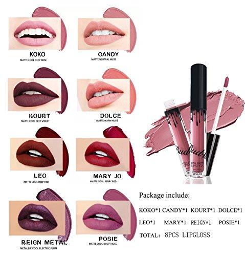 8 Couleurs Rouge à Lèvres, Longue Durée de Rouge à Lèvres Imperméable à L'Eau Mat Liquide Gloss Lip Liner Set de cosmétiques (8 pcs(lipstick only))