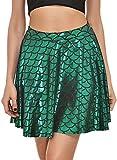 Fischschuppen Röcke Frauen Röcke Falten Druck Meerjungfrau Skalen Skater Schaukel Mädchen Rock, grün 4XL