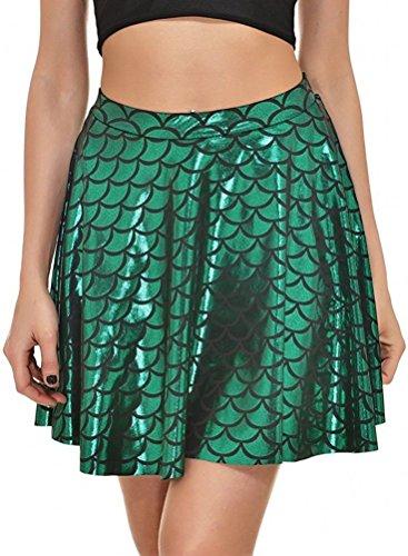 Frauen Röcke Falten Druck Meerjungfrau Skalen Skater Schaukel Mädchen Rock, grün S (Grün Meerjungfrau Rock)