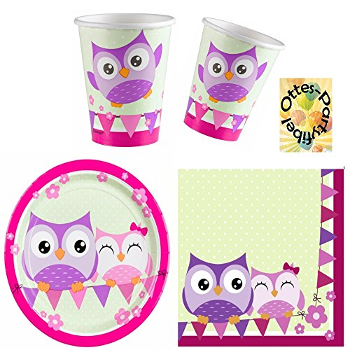 Happy Owl Lustige Eule Partyset für 16 Kinder 52 Teile Becher Teller (Party Dekorationen Owl)