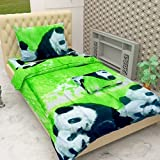 #10: BSB Trendz 3D Collection 144 TC Poly Cotton Everyday Use 1 Single Bedsheet with 1 Pillow Cover Nature Animal Print Bear Green with White and Black Premium Look