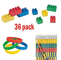 Building Block Party Favors - Pencils, Erasers and Bracelets Lot + Bonus Stickers
