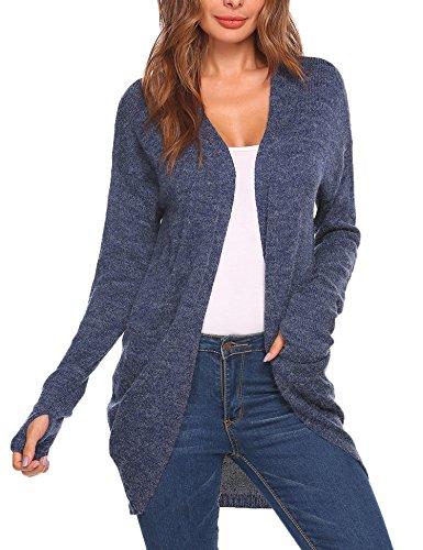Meaneor Damen Cardigan Strickjacke Pullover Mantel Outwear Tops Strickmantel Strick Loose Hersbt Winter mit Tasche, Blau, Gr. M