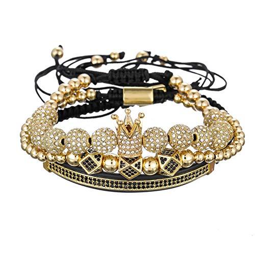 WANZIJING CZ Polygon Ball Crown Charm Kupfer Perlen Makramee Handgefertigte Herren Armbänder & Armreifen Für Herrenschmuck,Gold