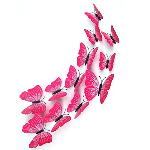 Gaddrt 12 x 3D Schmetterling Wandaufkleber Kühlschrankmagnet Room Decor Aufkleber Applique (Heiß Rosa) (Schmetterling 2 Applique Rosa Stück)