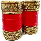Aarav Red Chura Chuda/Chooda/Chudda Bangles with Kundan Stones. Vivah/Marriage Bridal Tradition for Bridal/Dulhan