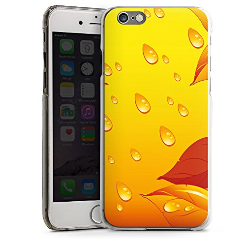 Apple iPhone 4 Housse Étui Silicone Coque Protection Feuilles Gouttes de pluie Automne CasDur transparent