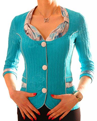 PoshTops Damen Blazer mit Knopfleiste Dehnbares Damenoberteil Strukturiertes Material Damenshirt 3/4 Ärmel Größen S