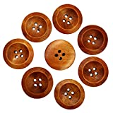 #5: Generic Wooden Round Buttons With 4 Holes (Coffee, 50-Pieces)