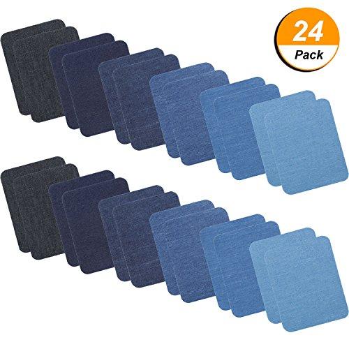 Denim-patch-kit (24 Stücke Eisen Aufbügelflicken Denim Patches Eisen Auf Reparatur Kit für Kleidung Jeans, 6 Farben, 5 mal 3,8 Zoll)