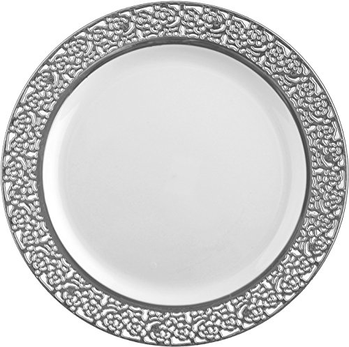 Decorline -Assiette Inspiration jetable blanc avec -bord en dentelle argenté-plastique rigide -rond 23 cm 10 pieces