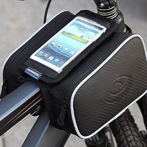 WayIn® Bicicletta della bici anteriore superiore della pagina del tubo Bag Capacità 1.8L con doppio Sacchetti 5,5 pollici Mobile Phone Pocket