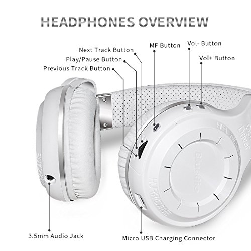 Bluedio T2S (Turbine 2 Shooting Brake) Bluetooth stereo headphones wireless headphones auricolari cuffie Bluetooth 4.1 headset Hurrican Series over the Ear headphones Gift Package(Bianco)