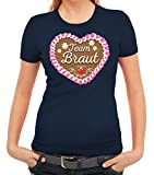 Junggesellinnenabschied JGA Damen Frauen T-Shirt Rundhals Team Braut - Oktoberfest Lebkuchenherz, Größe: M,Dunkelblau