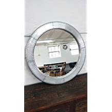 Espejo grande plata espejo de pared 90cm Aluminio Deko redondo Diseño Industrial Airman