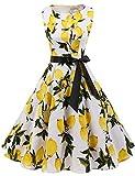 Gardenwed Annata 1950 retrò Rockabilly Polka Vestito da Audery Swing Senza Maniche Abito da Cocktail Partito Lemon Flower S