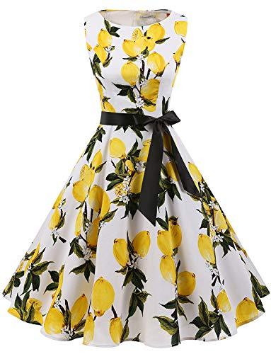 Gardenwed Damen 1950er Vintage Cocktailkleid Rockabilly Retro Schwingen Kleid Faltenrock Lemon Flower 2XL