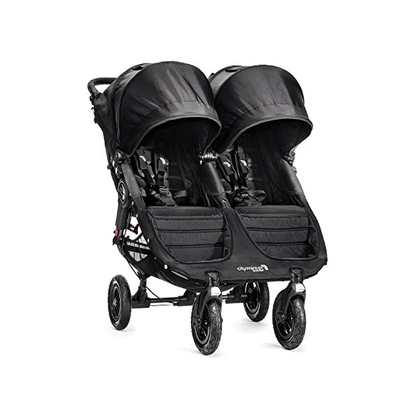 Baby Jogger City Mini GT Double Stroller Black  Taking a little detour is fun, the City Mini GT Double offers all-terrain wheels that let you make your own rules; the all-terrain wheels and front wheel suspension work in unison to give you full control on where and how you go while keeping your little one comfortable Lift the straps and the City Mini GT Double folds itself: Simply and compactly, it really is as easy as it sounds; the auto-lock will lock the pushchair for transportation or storage An adjustable handlebar can accommodate different heights and a hand-operated parking brake keeps all the controls within reach 2