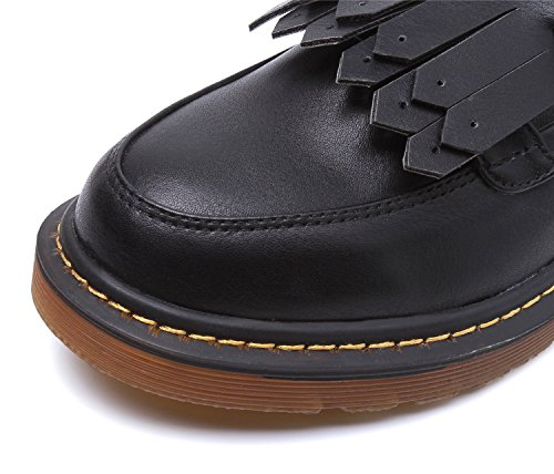 Smilun Chaussures Femme Bateau Frange Classic Boucle Bout Rond Noir